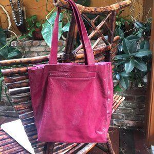 Furla raspberry patent leather tote